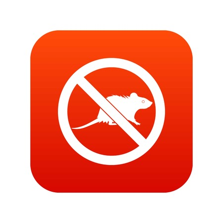 No rats sign icon digital red.