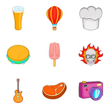 Food festival icon set. Cartoon set of 9 food festival vector icons for web design isolated on white background Stock Vector - 98423200