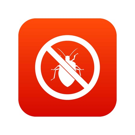 No bug sign icon digital red for any design isolated on white vector illustration Illustration