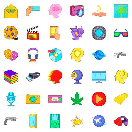 Three d cinema icons set. Cartoon style of 36 three d cinema vector icons for web isolated on white background Illustration