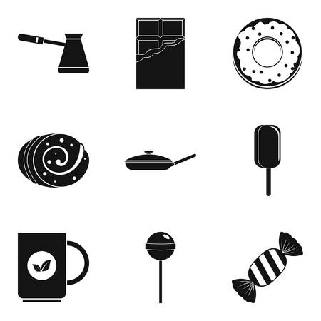 Candy and coffee icon set, simple style