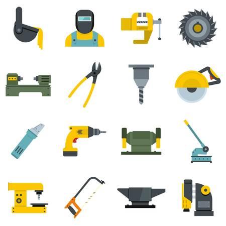 Iconos de trabajo metal set diseño plano vectorial