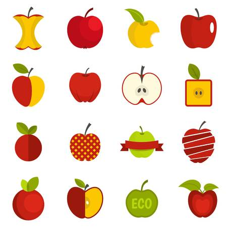 Apple icons set flat on white background, vector illustration.