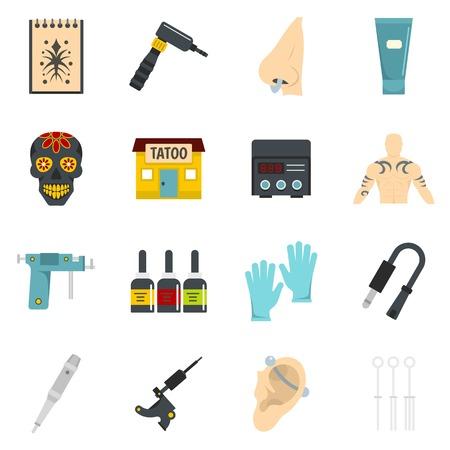 Tattoo parlor icons set vector flat design