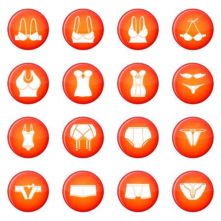 Underwear icons set red vector design