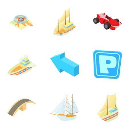 Transport icons set, cartoon style design