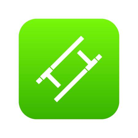 Tonfa icon in green square on white background, vector illustration.