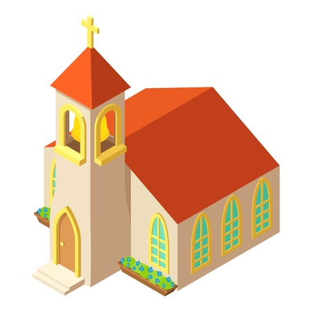 Church tower icon, isometric style design