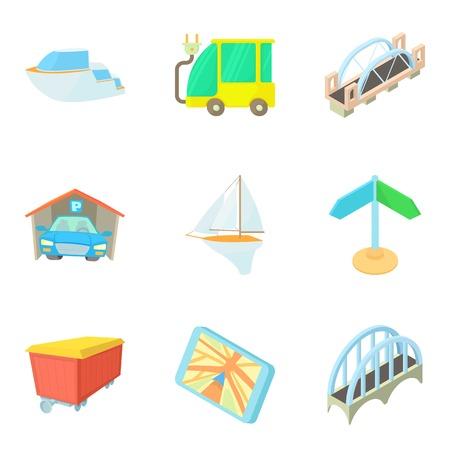 Mechanism icons set, cartoon style