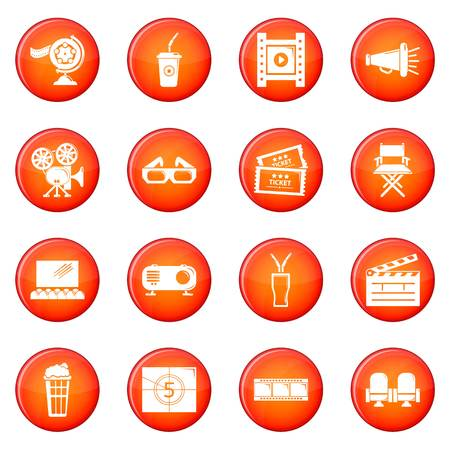 Cinema icons set in red circle vector illustration.