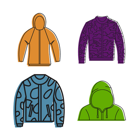 Hoodies icon set, color outline style vector illustration. Ilustrace