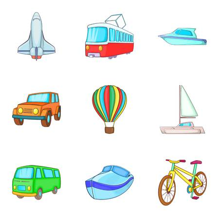 Car industry icons set, cartoon style design