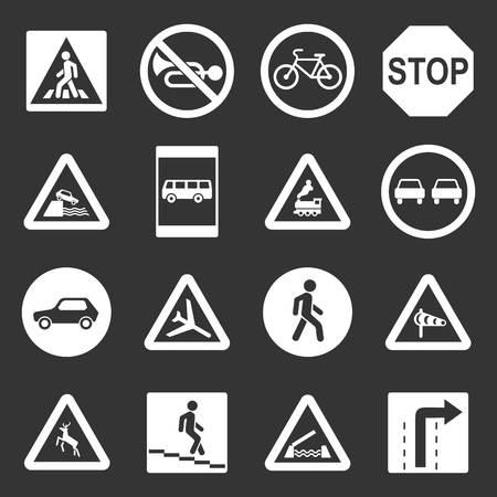 Road Sign set grey vector design