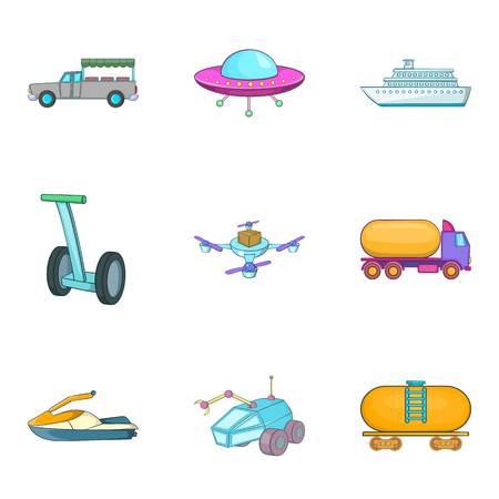 Auto industry icons set, cartoon style vector illustration.