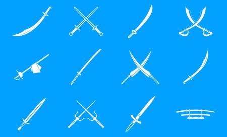 Sword icon blue set vector design Illustration