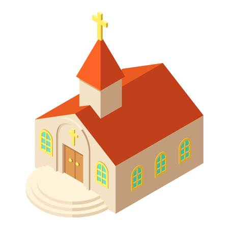 Kirche icon, isometric style vector illustration.
