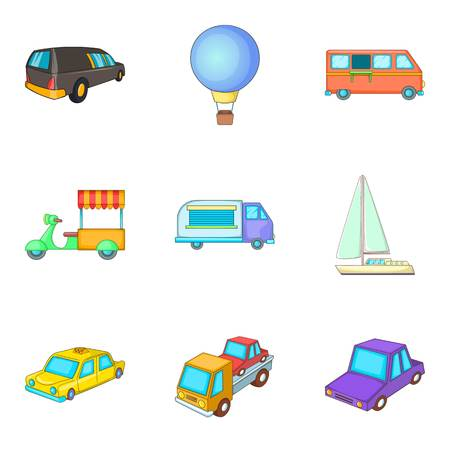 Consignment icons set, cartoon style design