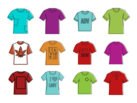 T-shirt icon set, color outline style illustration.