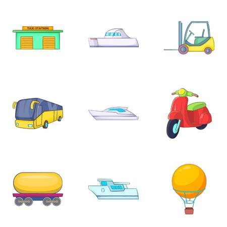 Auto ship icons set, cartoon style design