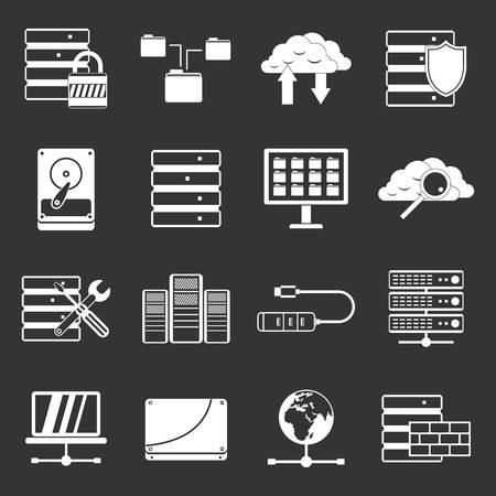 Database icons set grey vector design