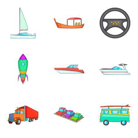 Auto icons set, cartoon style design
