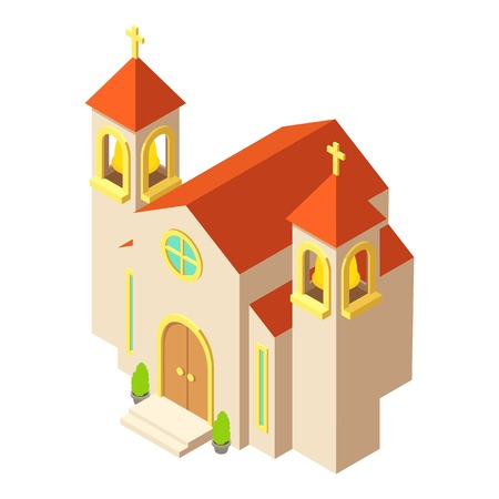 Protestant church icon, isometric style design Illustration