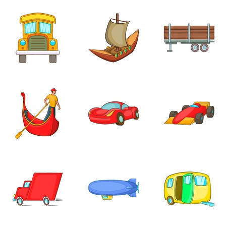 Automobile icons set, cartoon style vector illustration. Иллюстрация