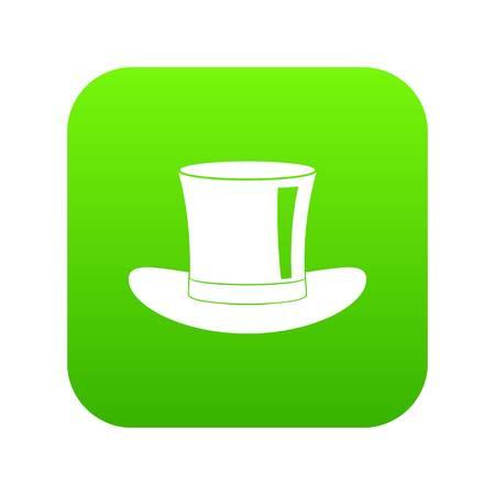 Silk hat icon digital green design