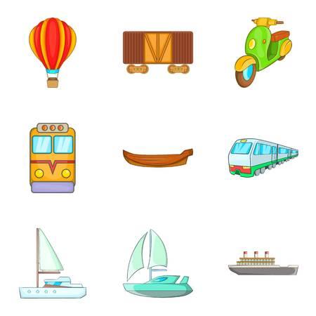Automotive icons set, cartoon style vector illustration. Иллюстрация