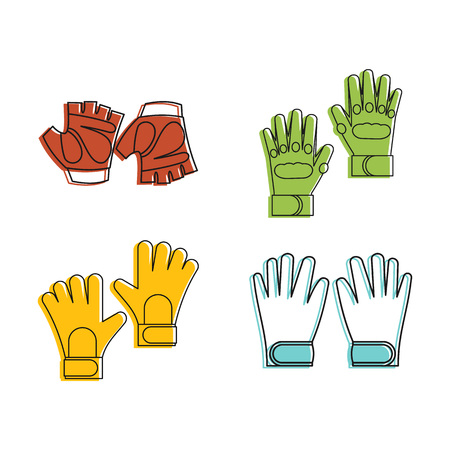 Fitness gloves icon set, color outline style design