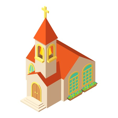 Church with cross icon, isometric style design