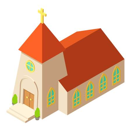 Chapel icon, isometric style design Illustration