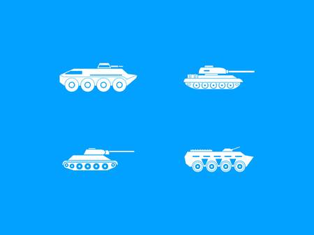 Tank icon set on blue background, vector illustration.