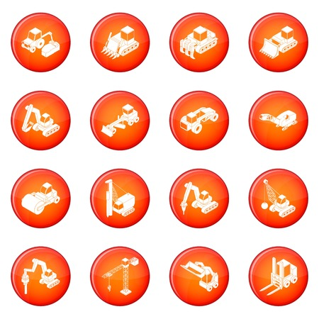 Building materials icons set in red circle vector illustration.