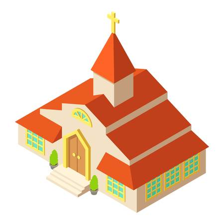 Tall church icon, isometric style design