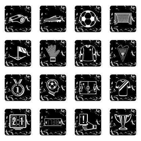 Soccer football icons set in grunge style vector illustration.