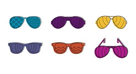 Sunglasses icon set, color outline style design Vettoriali