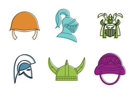 War helmet icon set, color outline style vector illustration. Illustration