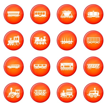 Railway carriage icons set vector design