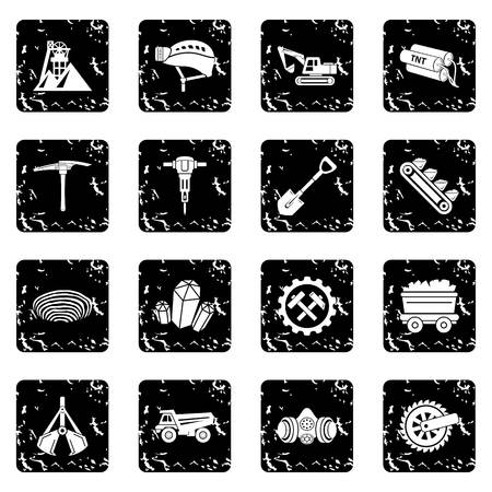 Coal mine icons set in grunge style vector illustration.