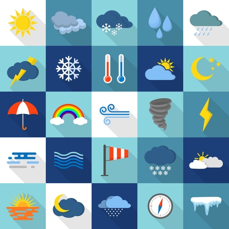 Weather icons set, flat style design Illustration