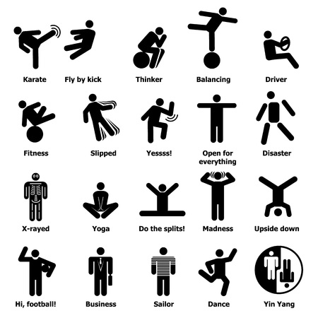 Man people stick icons set, simple style vector illustration.