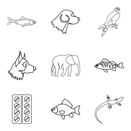 Animal husbandry icons set, outline style