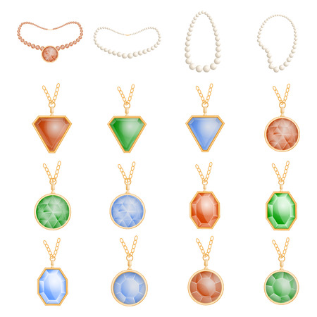 Necklace jewelry chain mockup set, realistic style  イラスト・ベクター素材