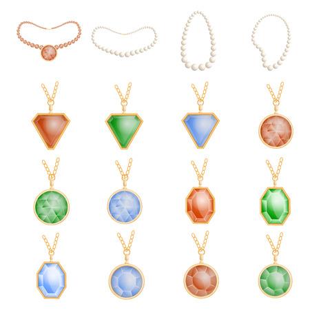 Necklace jewelry chain mockup set, realistic style Stock Illustratie
