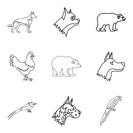 Farrier icons set, outline style