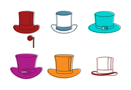 Top hat icon set, color outline style.