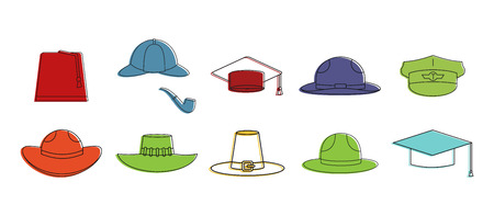 Hats icon set, color outline style. Illustration