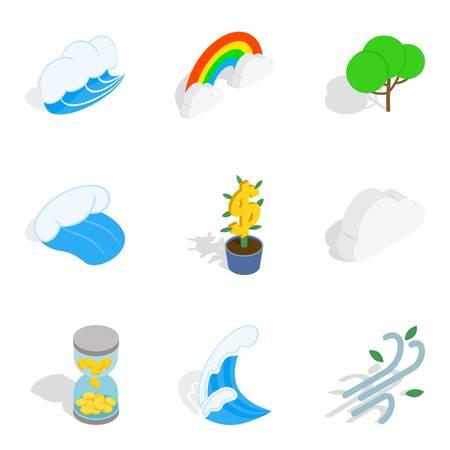 Environmentally sustainable icons set, isometric style.
