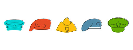 Military cap icon set, color outline style Vector illustration.